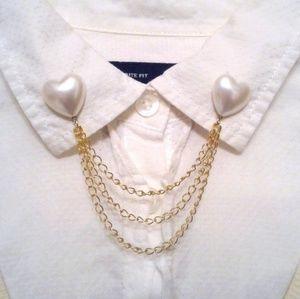 Pearl Heart Collar Pins Gold Collar Chain Brooch